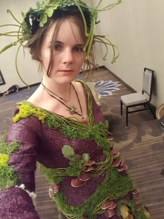 Fairy costume I created using natural moss and preserved leaves with mushrooms shaped from leather and organza.
