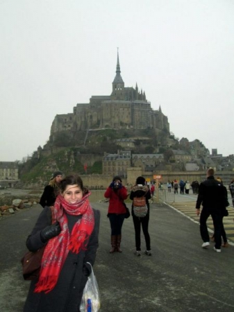 In front of Mont St Michel in Northern France