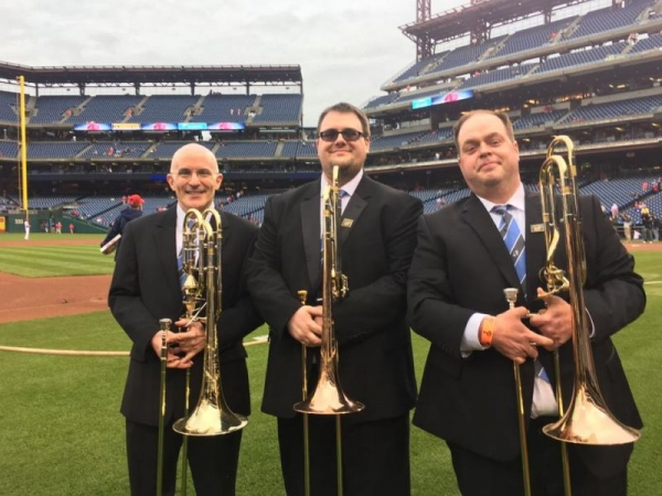Playing the Star Spangled Banner before the Phillies Game with the Atlantic Brass Band.