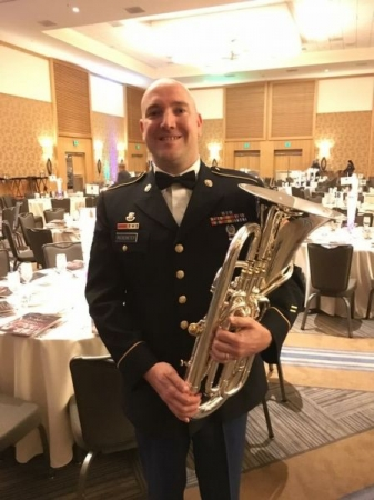 Getting ready to play for the soldier/airman of the year banquet.