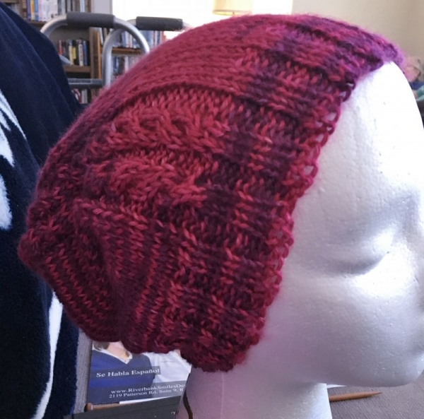 Cabled Slouchie (Knit) Knit, Purl, Decrease, Cable, Working in the round