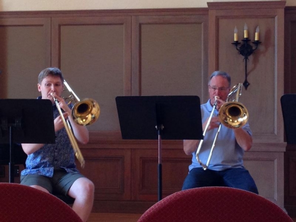 Playing trombone quartets with Mark Lawrence (former principal of the San Francisco Symphony) at Music Academy of the West 2016.