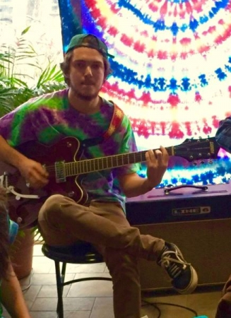 Jamming for a tie-dye t-shirt launch