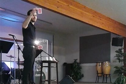 Performing on magic on stage for a church special event