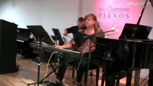 At the piano recital with Brent on cello . August 6 , 2017