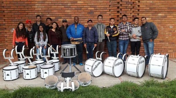 Working with the ColBoy Marching Band percussion section in Tunja, Boyaca, Colombia