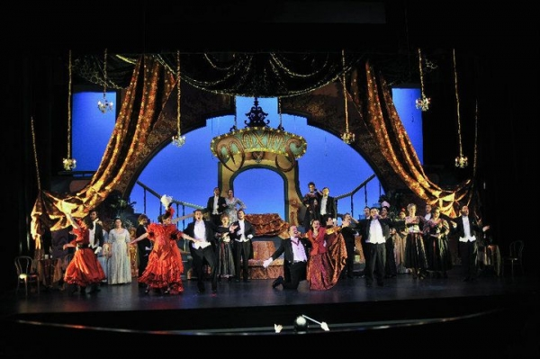 Photo from The Merry Widow with Townsend Opera. Ally is on the raised platform on the right.