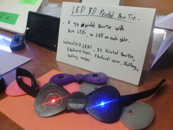 3D printed bow tie with light emitting diodes! Great work by my high school camper at Colorado University's Science Discovery!