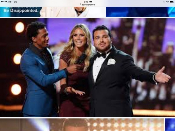 Vocal student Sal Valintinetti with Nick Cannon and Heidi Klum