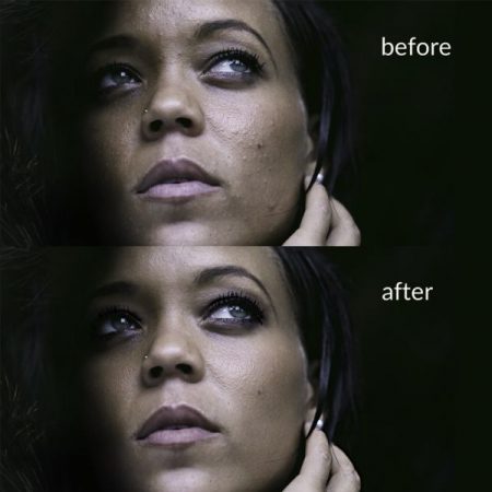 Professional skin and makeup retouching techniques in Photoshop.  Example of Before & After
