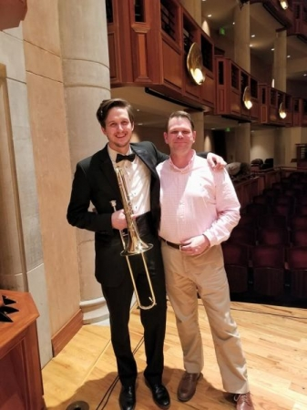 My studio professor, Scott Bean, and me after my last concert with the Lamont Symphony Orchestra.