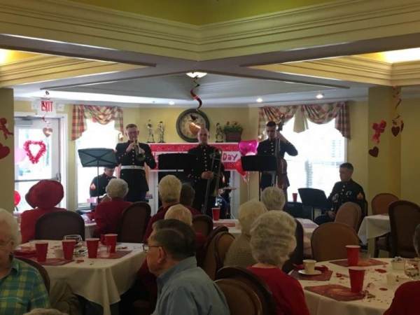 The Marine Band Jazz Combo performing at a retirement home.