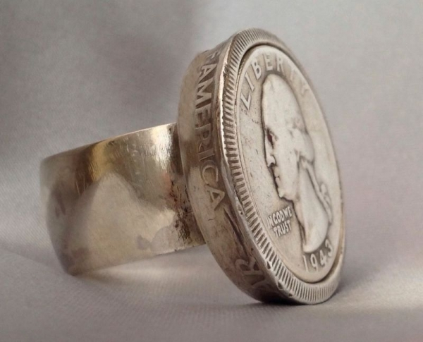 1943 Silver Quarter Ring with B Franklin 50 cent piece as bezel.