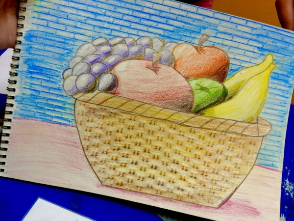 Student work *9 years old*-Learning to use complimentary colors for shading.