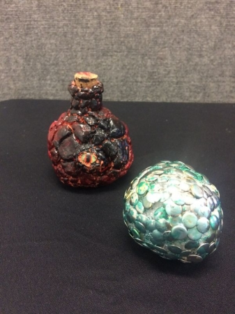 Student Sculpting *6 years old* Dragon jar with clay and Dragon egg with foam and tacks.