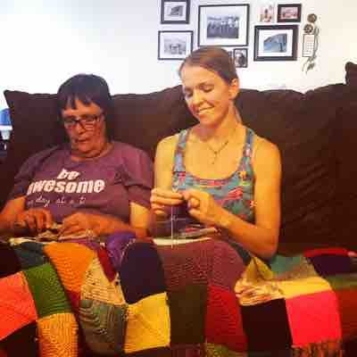 Knitting with my best student and best teacher.... my mom.