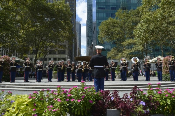 The Quantico Marine Corps Band performs at Bryant Park in New York City