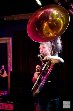 Performing with Funky Dawgz Brass Band, 2014
