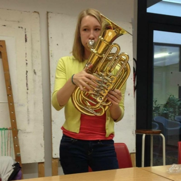 Trying out a travel tuba in Salzburg, Austria, 2015
