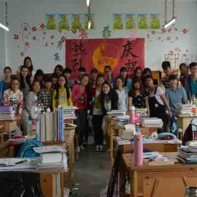 Posing with my students in China