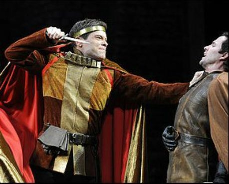 Henry V (Michael Hayden) and Scroop (Jason Marr) in The Shakespeare Theatre's production of Henry V.