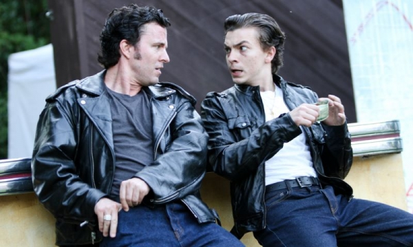 Proteus (J. Marr) and Speed (Chris Morson) in Two Gentlemen of Verona with Wooden O, Seattle WA