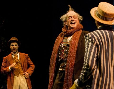Fabian (J. Marr), Toby Belch (P. O'Conner), and Aguecheek (W. Elsman) in Twelfth Night at SSC, directed by Marco Barricelli
