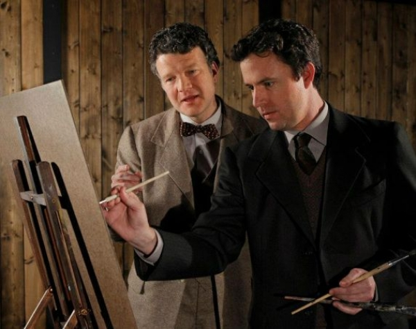 Frank Lawler as Robert Lyons and J. Marr as Oliver Kilbourne in The Pitmen Painters with ACT Theatre in Seattle