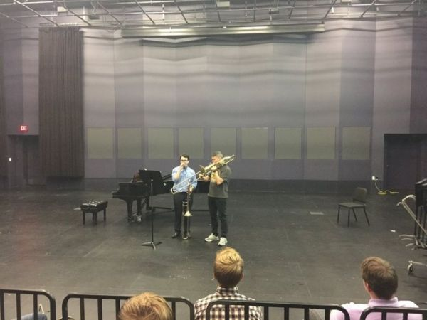 Working with Denson Pual Pollard former bass trombonist of the Metropolitan Opera in a master class.