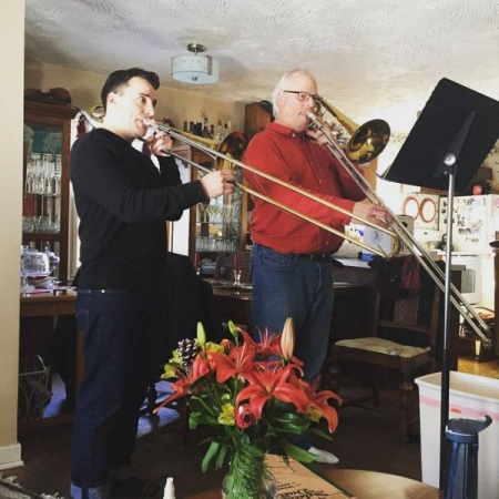 Playing duets with my girlfriend's Dad on his vintage trombones.