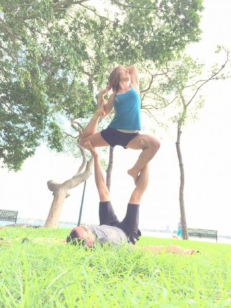 Everyday is worth celebrating! Here some friends and I are celebrating International Yoga Day in the park. : )