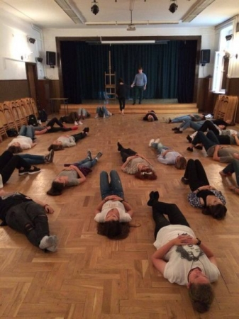 Warm up beginning of class. Students in Warsaw, Poland.