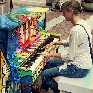 Busting out a Chopin Nocturne on a piano in downtown Indianapolis.