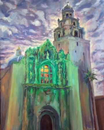 "Balboa Park Museum of Man.  18 x 24"" oil on board."