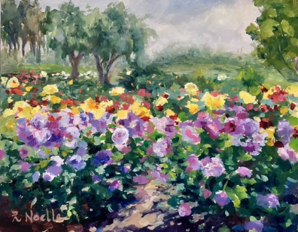 "Balboa Park Rose Garden.  8 x 10"" oil on board."