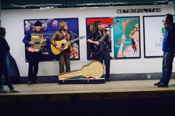 Busking in NY while on tour with Charley Crockett.  March 2016