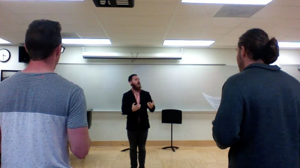 Screenshot from a rehearsal video with the WSU Men's Glee Club, Sep. 2017