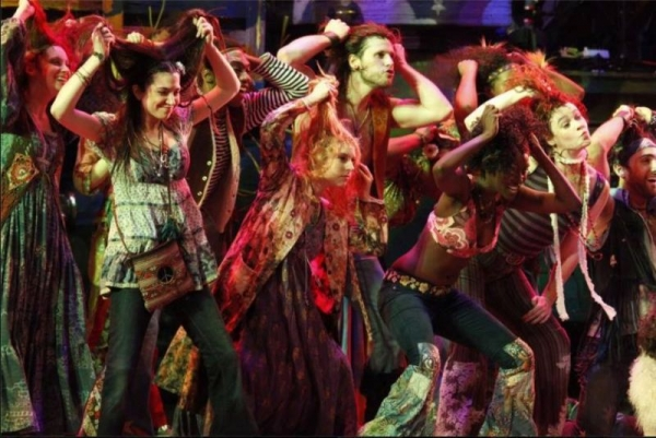 Performing in the international tour of the Tony Award-Winning HAIR. ( pictured far right)