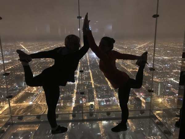 Yoga on the skydeck of the Sears Tower.