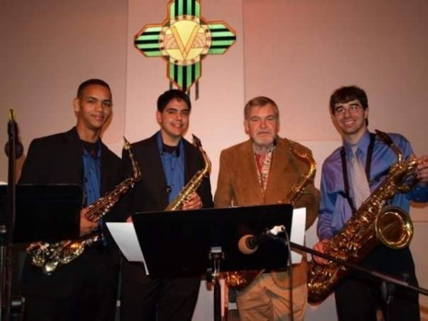 Saxophone Quartet performance with the extraordinary Mack Goldsbury. I'm on the far right, Mack is second from the right.