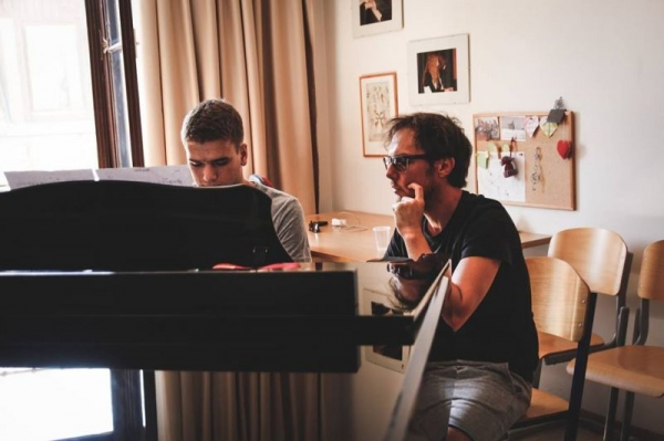 Teaching at Jazzinty Summer Camp. Photo taken with a piano student. (August 2017)