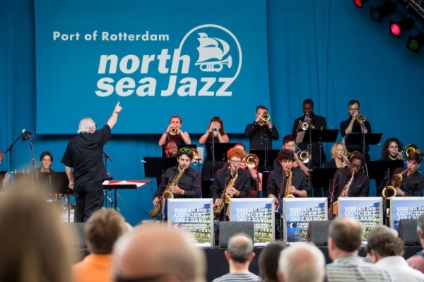 Performing with the Converatorium van Amsterdam Concert Jazz Band at the North Sea Jazz Festival (top right)