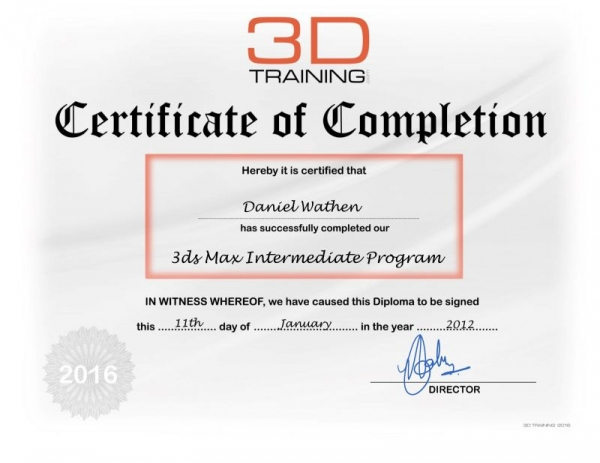 3DTi certificate of completion in Autodesk 3DsMax training.
