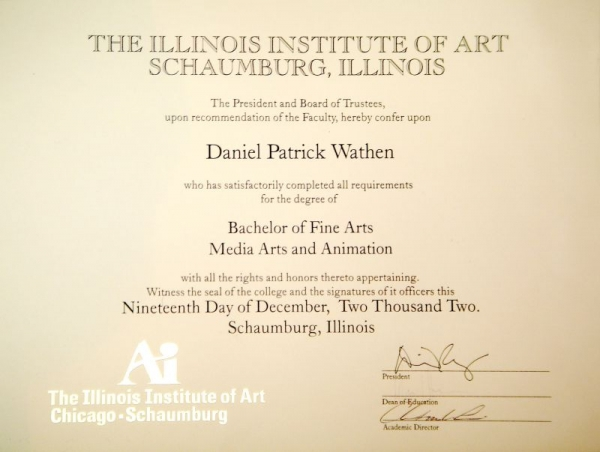 BFA diploma in Media Arts and Animation from the Illinois Institute of Art-Schaumburg.