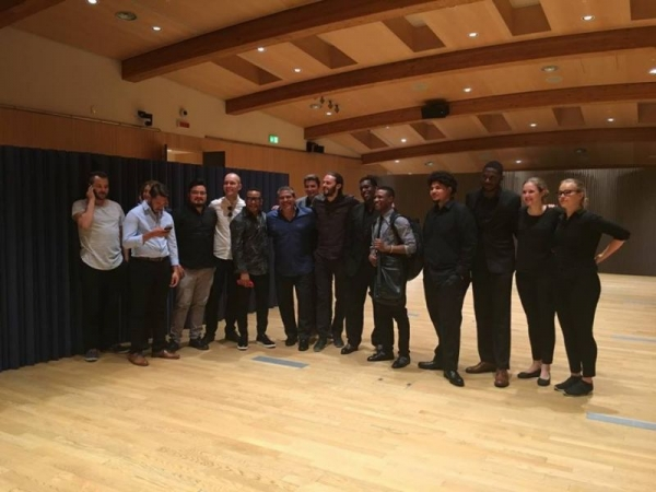 Post-gig photo in Milan with Gonzalo Rubalcaba and the JMI Big Band directed by Luis Bonilla