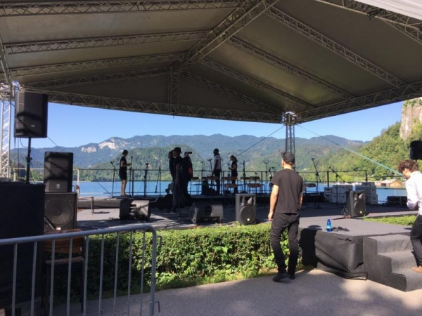 Set up for performance in Bled, Slovania with the JMI Big Band