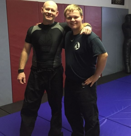 Dad and I ready for training in the studio
