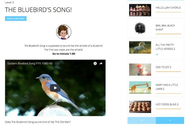 Level 3 Core Content, the Bluebird's Song! Supplemental material includes video of a bluebird. Mozart used birds as musical inspiration!