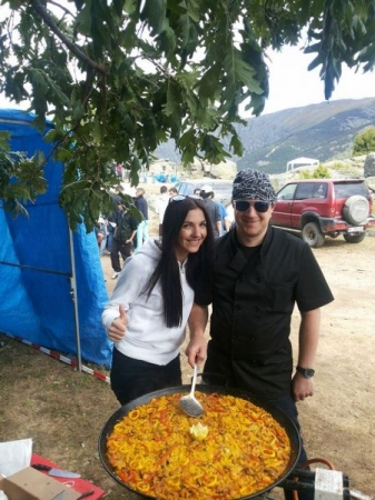 Avila, Spain. With chef of Paella