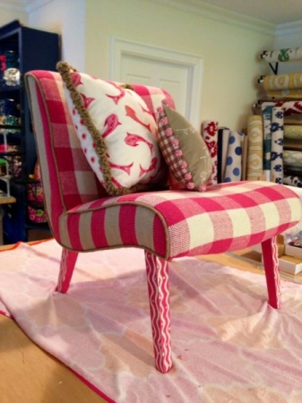 A chair and pillows I upholstered and made for H C & G magazine Breast Cancer awareness issue/Custom Cool
